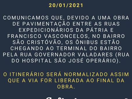 20/01/2021 - Comunicado alteração de itinerário (Bairro São Cristóvão)