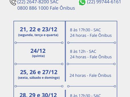 Horários de atendimento ao cliente - FIM DE ANO