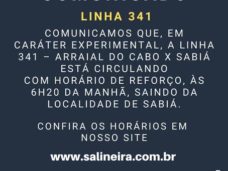 01/03/2021 - Comunicado linha 341