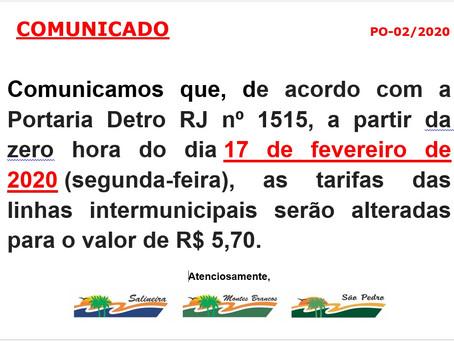 Novo valor tarifas intermunicipais - 17/02/2020
