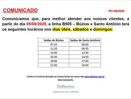 Novos horários linha B505 - Búzios x Santo Antônio