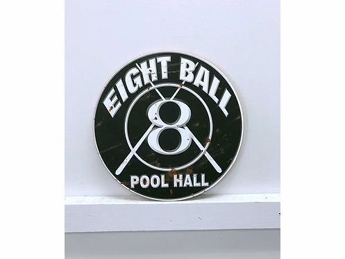 8 ball Vintage Wooden Sign