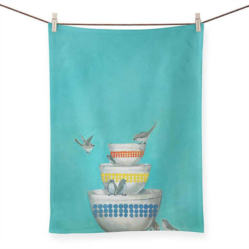 Birds on a Stack of Bowls - 100 % Cotton Tea Towel