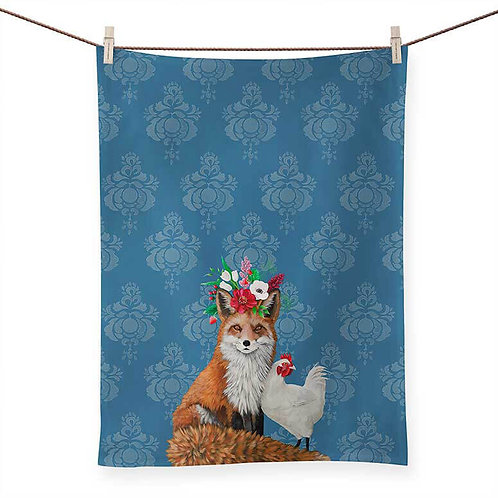 Fox and Rooster on Blue - 100 % Cotton Tea Towel