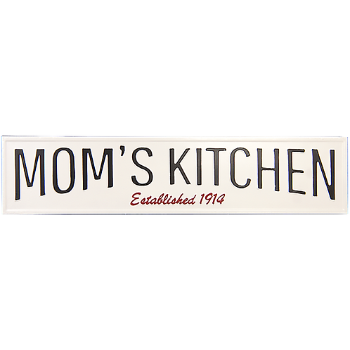 Embossed Metal Sign - Mom's Kitchen