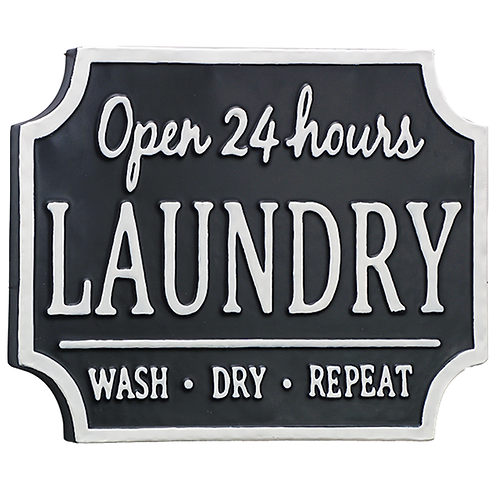 laundry open 24 hrs metal sign