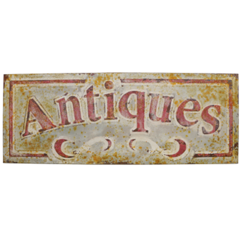 Vintage Reproduction Metal Sign - Antiques Red