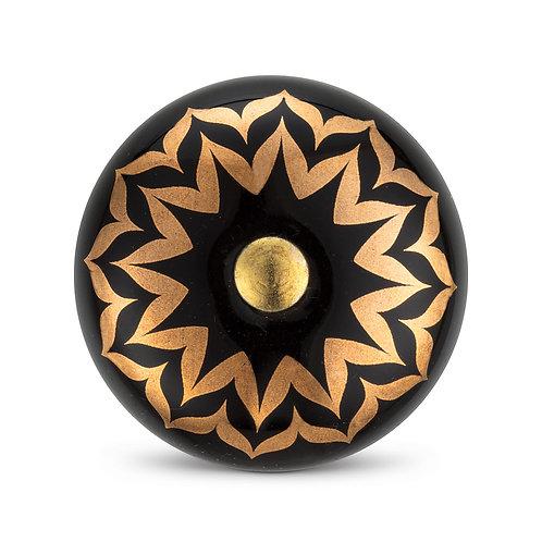 Black and Gold Flower Knob