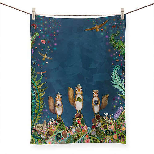 Squirrel Royale - 100 % Cotton Tea Towel