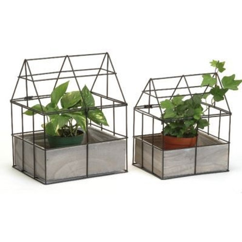 Metal with Wooden Box Planter