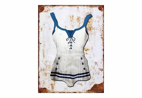 White - Swimsuit Vintage Metal Sign