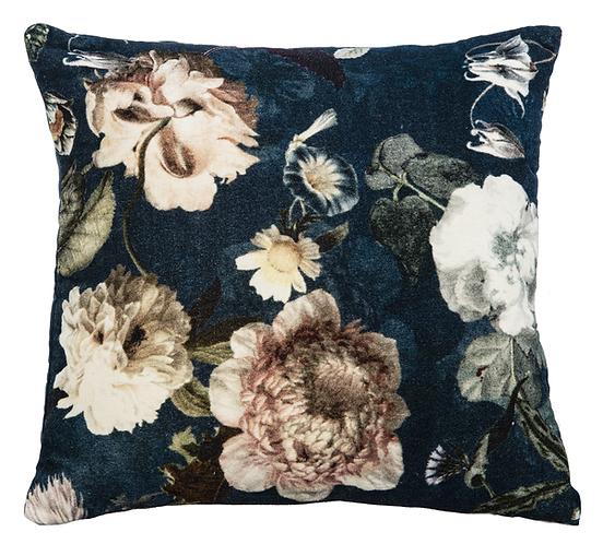 Velvet Blue Floral Pillow