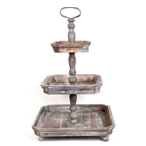 Wood and Metal 3 Tier Farmhouse Tray
