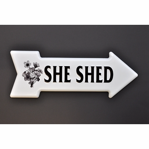 She Shed Arrow 3D Metal Sign
