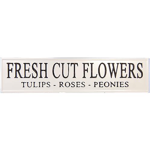 Embossed Metal Sign - Fresh Cut Flowers