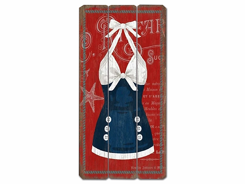 Blue and White - Swimsuit Vintage Wooden Sign