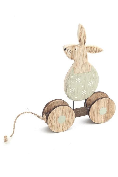 Wooden Rabbit pull toy decor