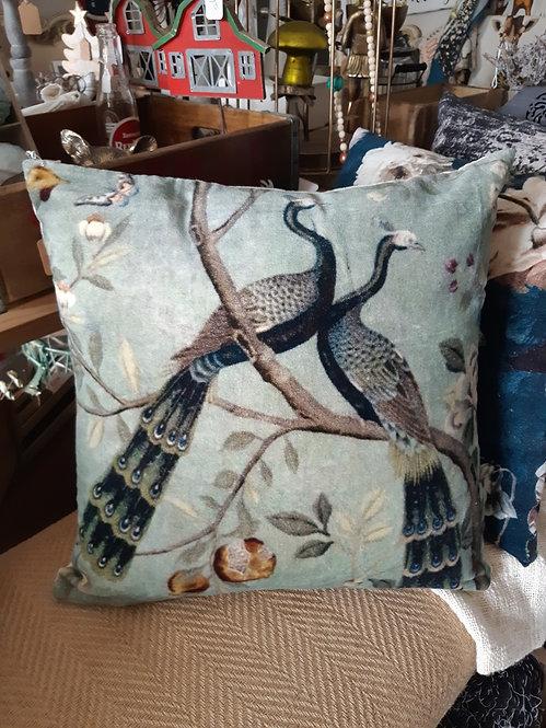 Velvet Faded Blue Peacock Throw Pillow