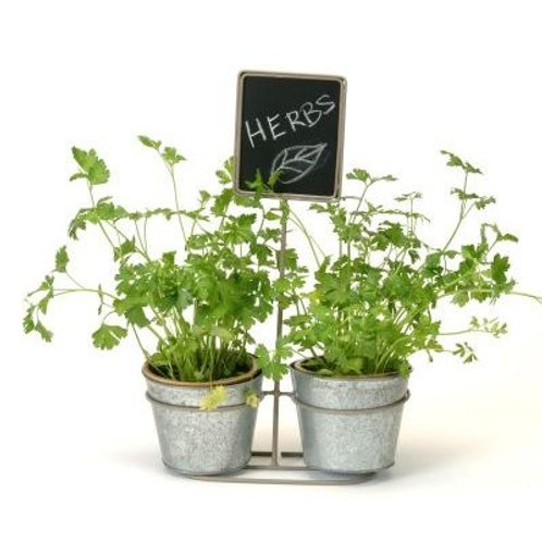 Grey Metal stand with Zinc pot and Chalkboard