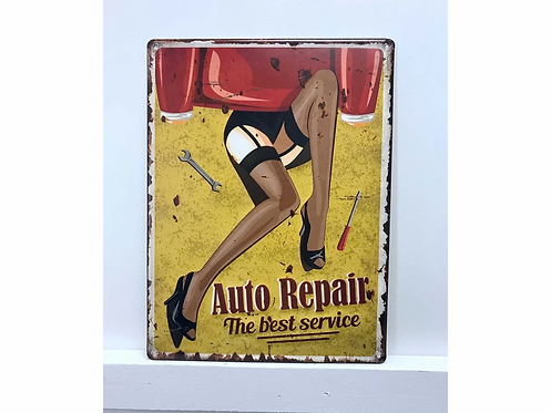 Pin-Up Auto Repair Vintage Metal Sign