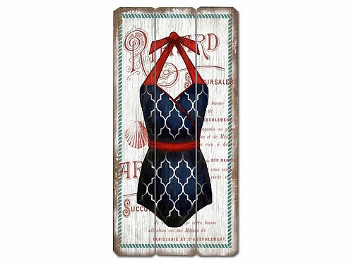 Blue - Swimsuit Vintage Wooden Sign