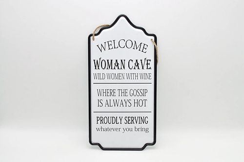 Woman Cave Rules Metal Sign