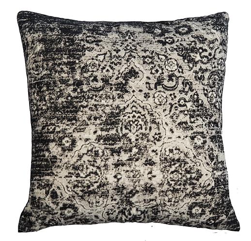 Velvet Faded Black Medallion Throw Pillow