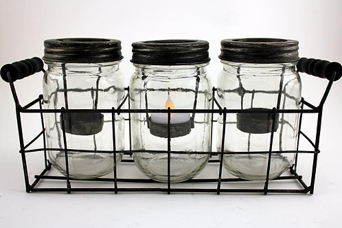 Set of 3 Vintage Candle Jars