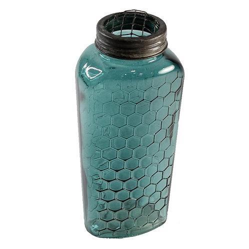 Honeycomb turquoise farmhouse vase