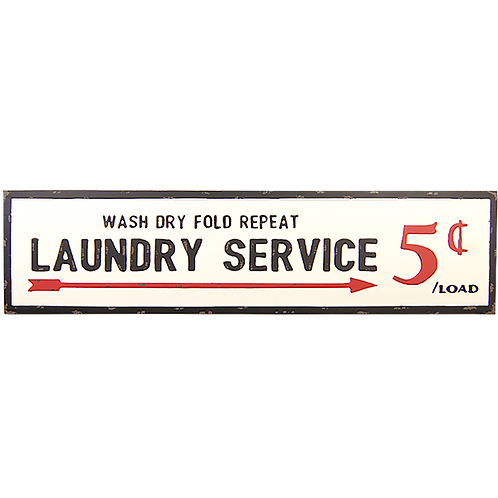 Embossed Metal Sign - Laundry Service