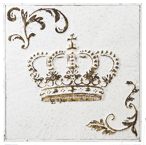 White & Gold Embossed Crown Wall Decor