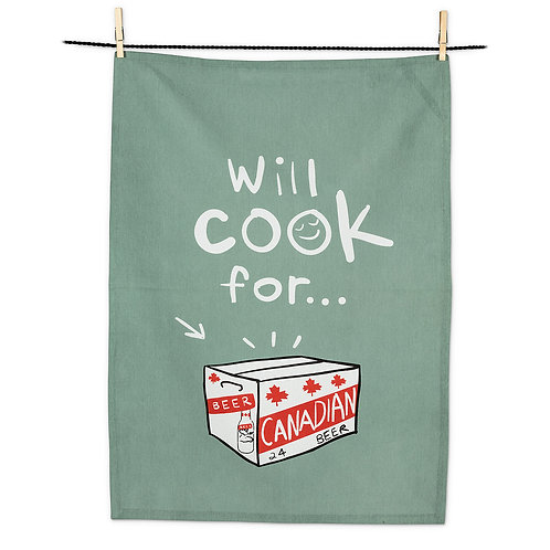Will Cook For Beer- 100 % Cotton Tea Towel