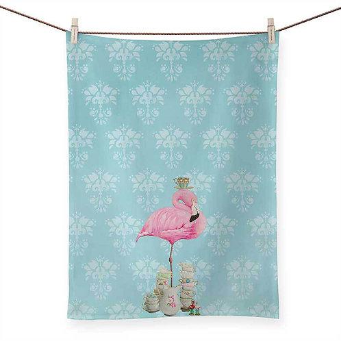 Tea Time Flamingo - 100 % Cotton Tea Towel