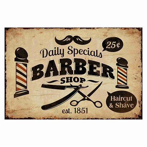 Rustic Barber Shop Metal Sign
