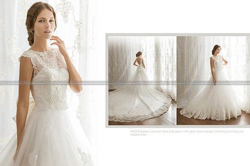 Bateau Alencon lace ball gown