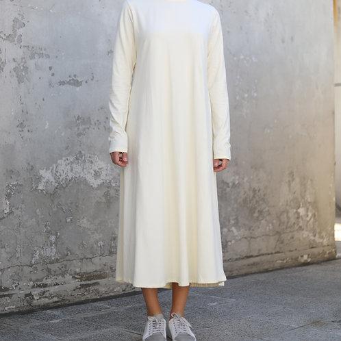 Krem Uzun Kollu Elbise