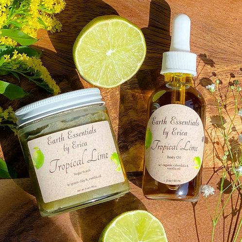 Tropical Lime Body Oil and Sugar Scrub