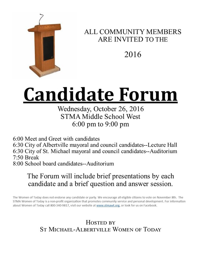 Candidate Forum Hosted by STMA Women of Today!