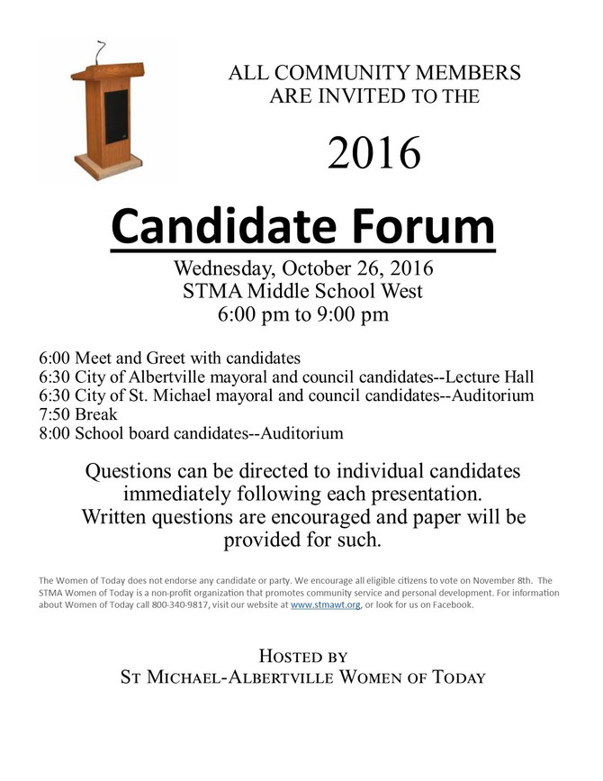 Please note change regarding questions to candidates...