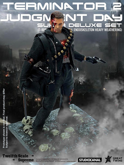 Great Twins Terminator 2: Judgement Day T-800 & Endoskeleton 1/12 (Set of 2)