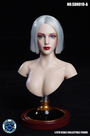 Super Duck SDH019-A 1/6 Female Headsculpt Heavy Makeup White Hair
