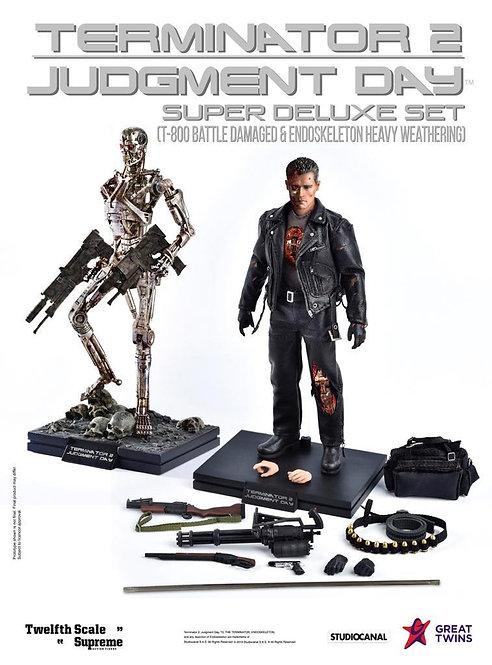 Great Twins Terminator 2: Judgement Day T-800 & Endoskeleton 1/12 (Set of 2)