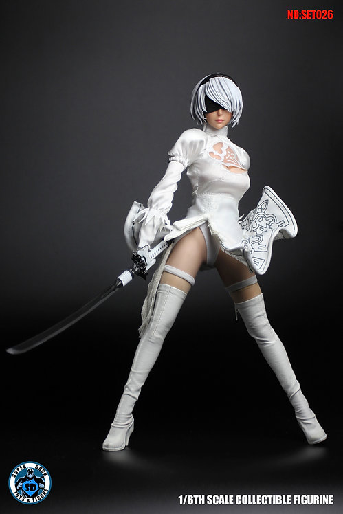 SUPER DUCK SET026 Sexy Cyborg 1/6 White Costume Set