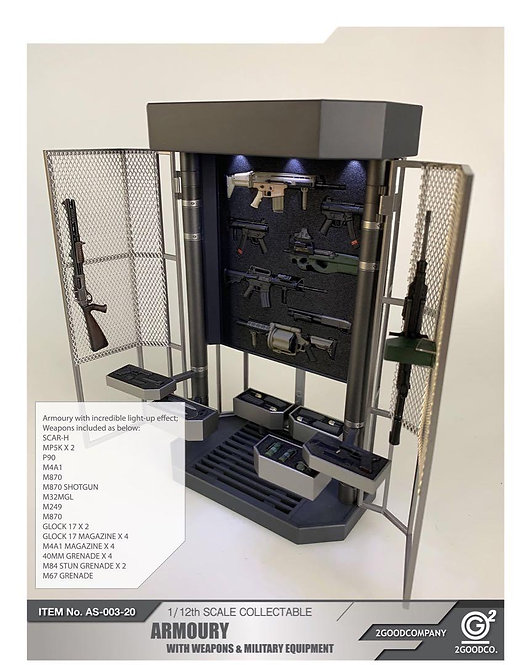 2GOODCO AS-003-20 Armoury With Weapons & Military Equipment 1/12 Scale