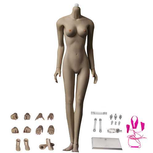 JOQ-10C-PS (Black Skin) Asian Shape 1/6 Female Seamless Body