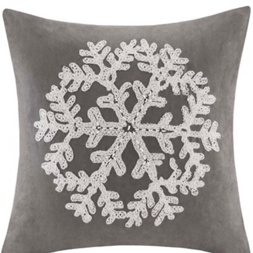 Snowflake Embroidered Suede Gray