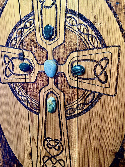 Wood Burned Celtic Cross