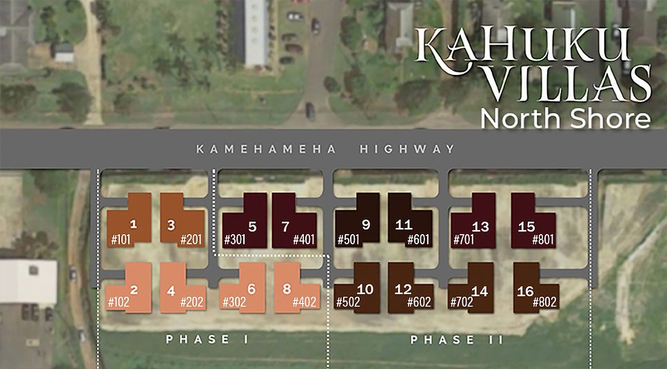 Kahuku Villas Lot Map with Unit numbers.