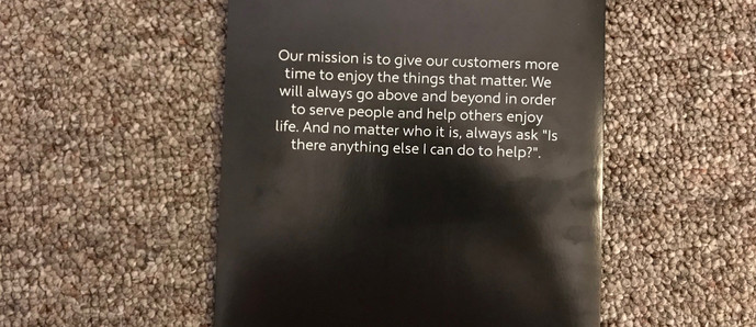 Back of the Customer Welcome Packet