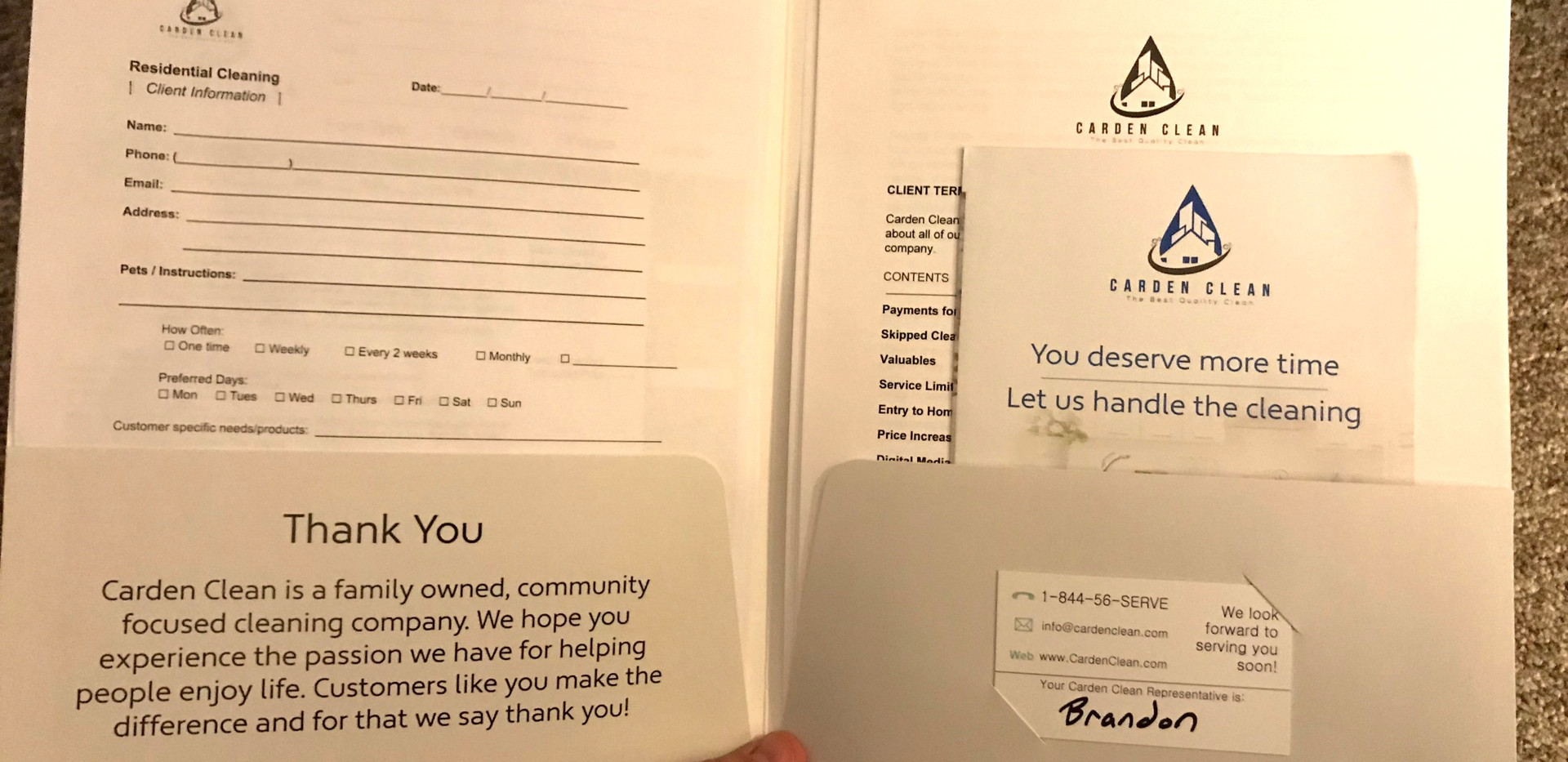 Inside of the Customer Welcome Packet